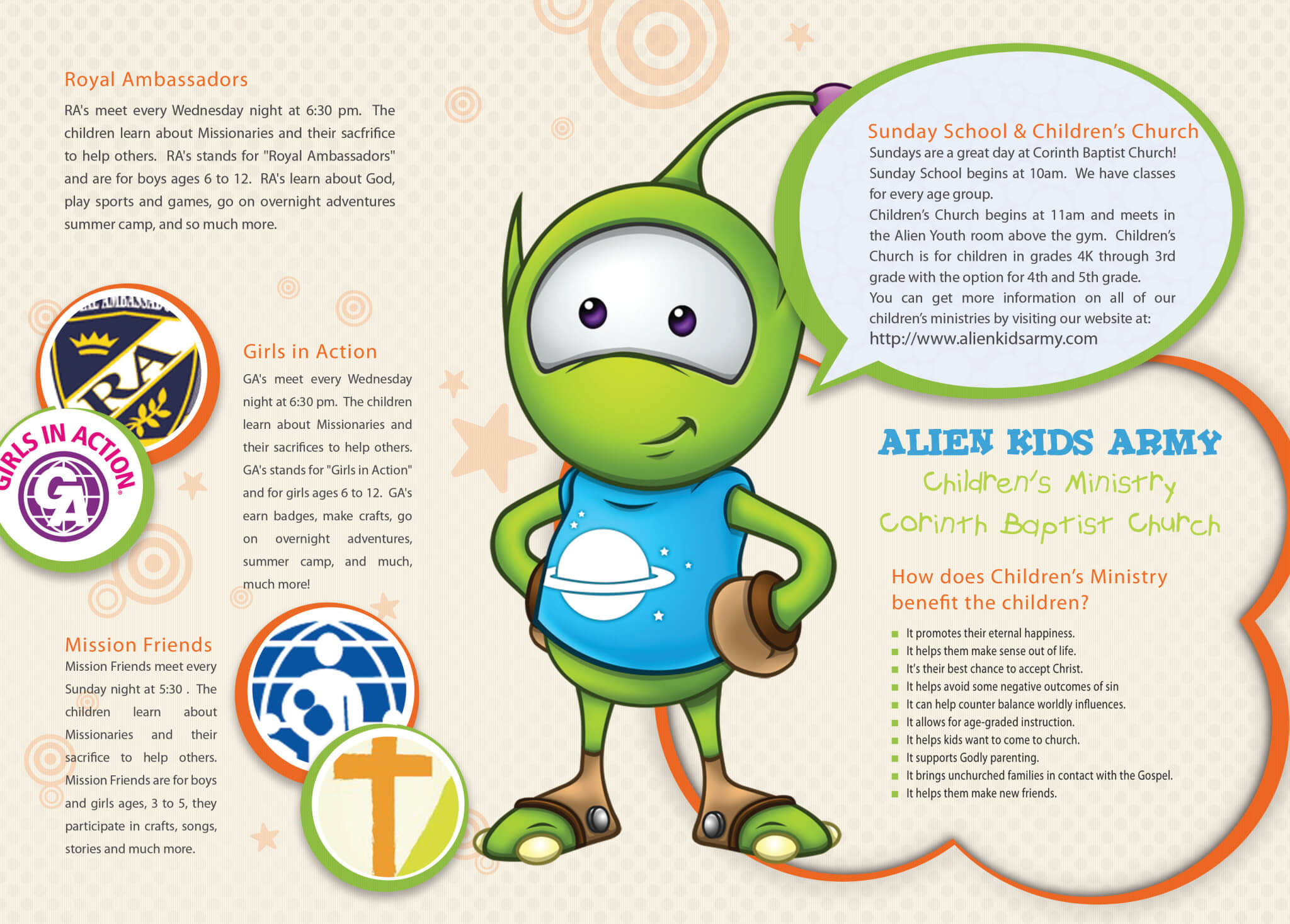 Alien Kids Childrens Ministry Brochure Corinth Baptist